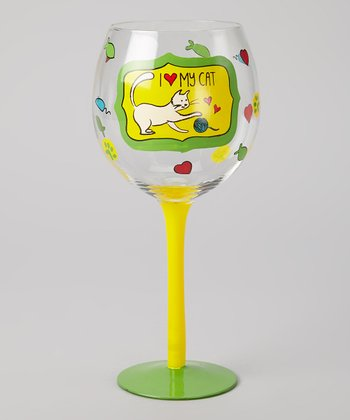 Green 'I Love My Cat' Wineglass