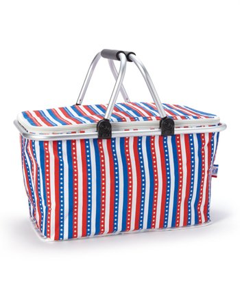 Red & Blue Stripe Insulated Market Basket