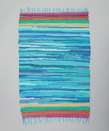 Blue Stripe Tropical Chindi Rug