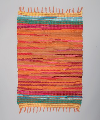 Orange Tropical Chindi Rug