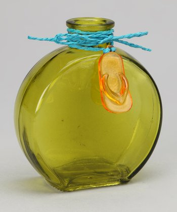 Green Flip-Flop Accented Glass Bottle