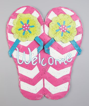Pink 'Welcome' Flip-Flop Sign