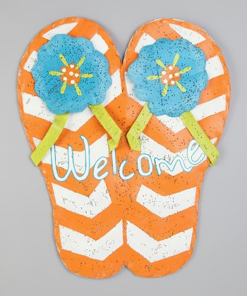 Orange 'Welcome' Flip-Flop Sign