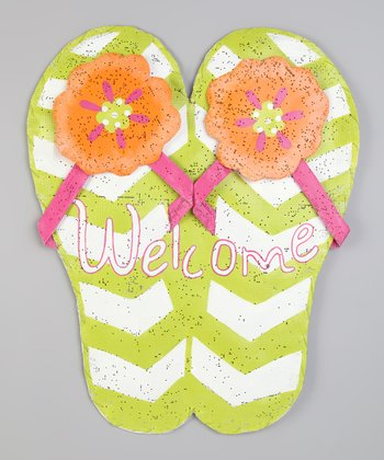 Green 'Welcome' Flip-Flop Sign