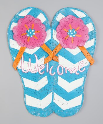 Blue 'Welcome' Flip-Flop Sign
