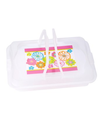 Pink Flower Plastic Food Carrier