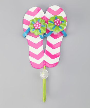 Pink Bead Flip-Flop Wall Hook