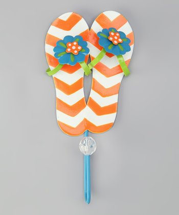 Orange Bead Flip-Flop Wall Hook