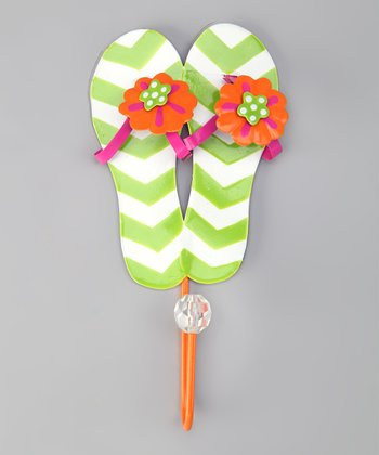 Green Bead Flip-Flop Wall Hook
