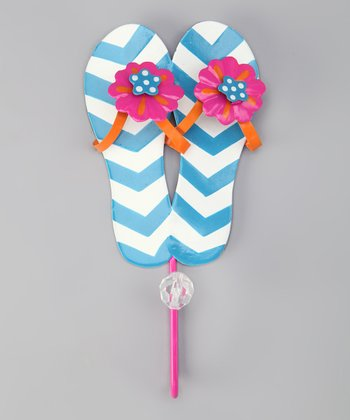 Blue Bead Flip-Flop Wall Hook