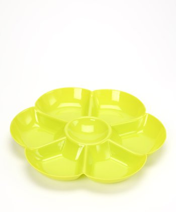 Green Flower Sectioned Chip & Dip Bowl