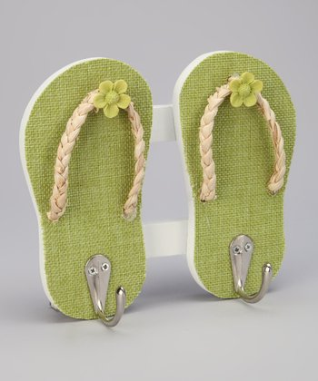 Green Tropical Flip-Flop Double Wall Hook