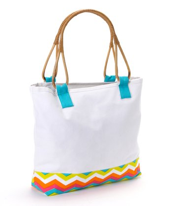 Zigzag Cane-Handle Tote