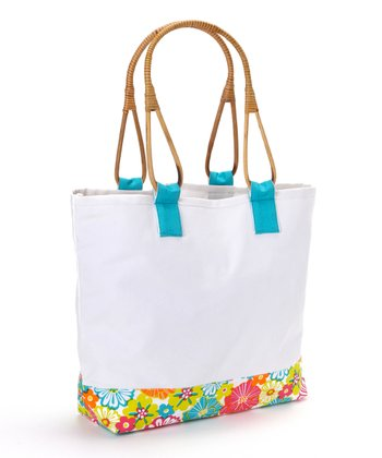 Tropical Flower Cane-Handle Tote