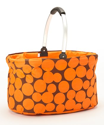 Orange Dot Folding Market Basket