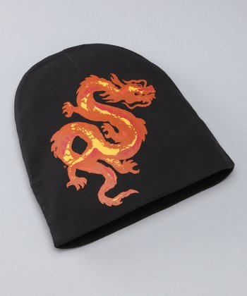 Black & Orange Dragon Beanie