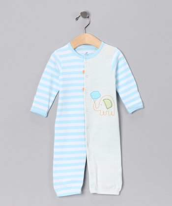 absorba Blue Stripe Elephant Playsuit - Infant