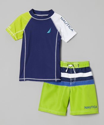 Nautica Bright Green Rashguard & Swim Trunks - Toddler & Boys