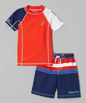 Nautica Bright Orange Rashguard & Swim Trunks - Toddler & Boys