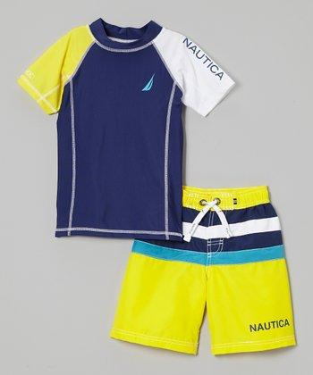 Nautica Yellow Rashguard & Swim Trunks - Toddler & Boys