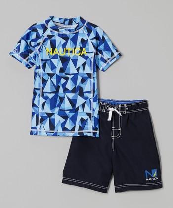 Nautica Sport Navy Rashguard & Swim Trunks - Toddler & Boys