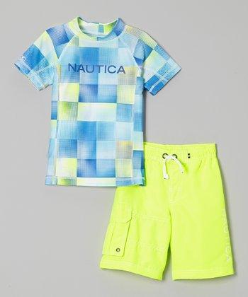 Nautica Neon Yellow Rashguard & Swim Trunks - Toddler & Boys