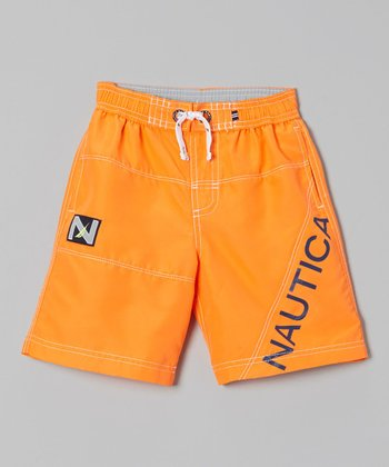 Nautica Neon Orange Swim Trunks - Boys