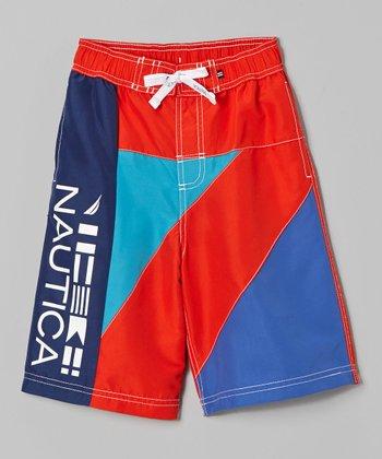 Nautica Bright Orange & Blue Colorblock Swim Trunks - Boys