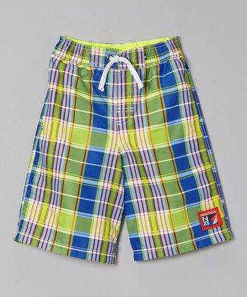Nautica Royal Blue & Yellow Plaid Swim Trunks - Boys
