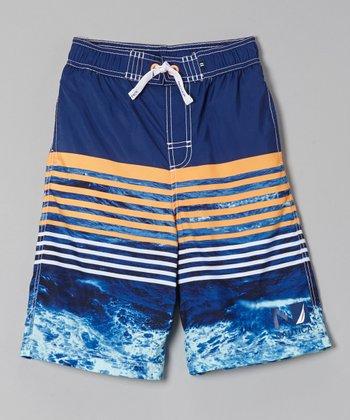Nautica Tanzanite Colorblock Swim Trunks - Boys