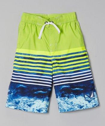 Nautica Bright Green Colorblock Swim Trunks - Boys
