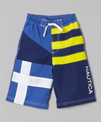 Nautica Royal Blue & Yellow Colorblock Swim Trunks - Boys
