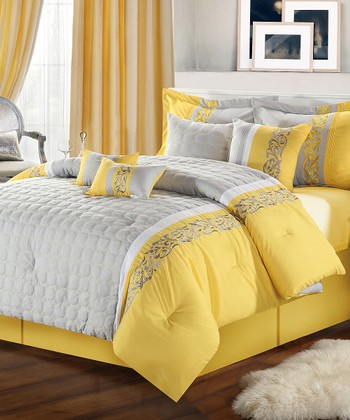 Yellow Glendale Embroidered Comforter Set