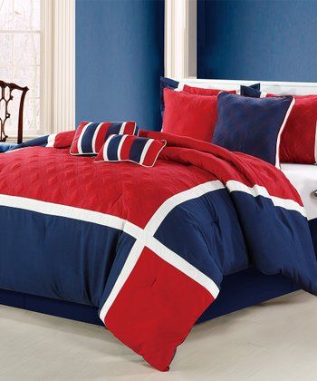 Red Quincy Embroidered Comforter Set