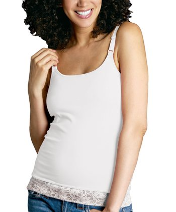 White Lace Nursing Bra Top - Women & Plus