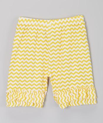 Yellow Zigzag Ruffle Shorts - Infant, Toddler & Girls