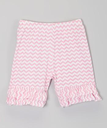 Light Pink Zigzag Ruffle Shorts - Infant, Toddler & Girls