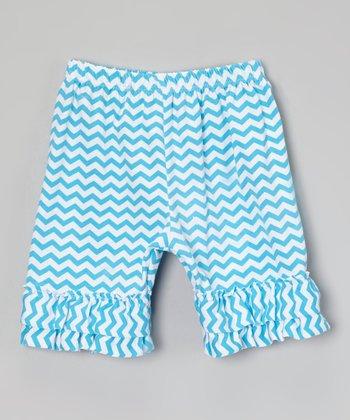 Blue Zigzag Ruffle Shorts - Infant, Toddler & Girls