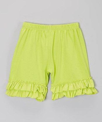 Chartreuse Ruffle Shorts - Infant, Toddler & Girls