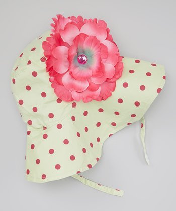Green & Pink Polka Dot Gwendolyn Sunhat