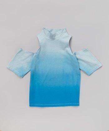 Turquoise Ombré Cutout Top