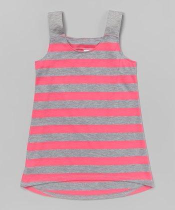 Neon Pink & Gray Stripe Tank