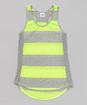 Heather Gray & Neon Yellow Stripe Tank