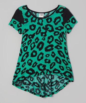 Black & Green Leopard Top