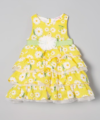 Yellow Floral Ruffle Dress - Infant, Toddler & Girls