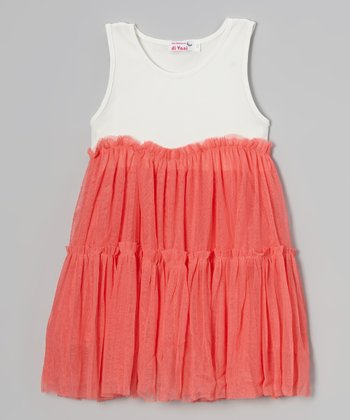 Coral & White Tulle Ruffle Dress - Toddler & Girls