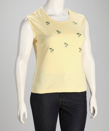Yellow Palm Tree Embroidery Plus-Size Tank