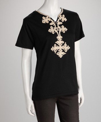 Black Embellished Tee