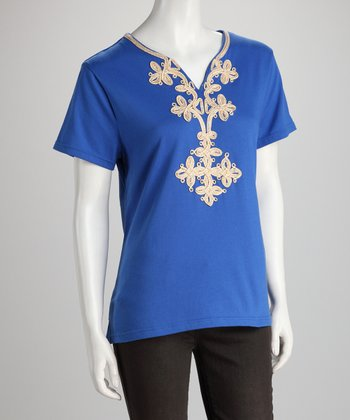 Blue Embellished Tee