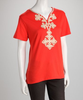 Orange Embellished Tee